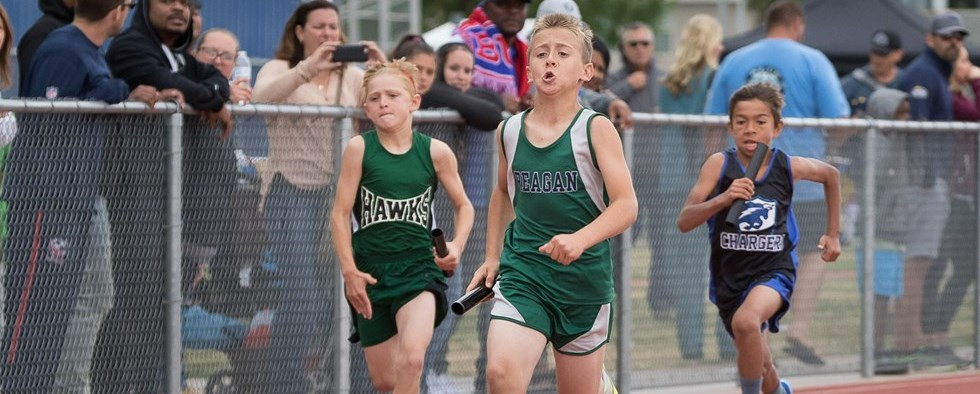 Reagan student running in a race